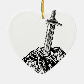 Excalibur Sword in the Stone Illustration Ceramic Ornament
