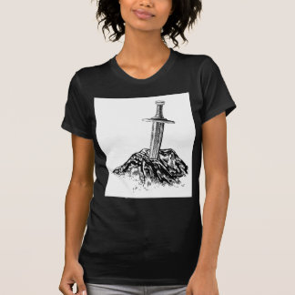 Excalibur Sword in the Stone Illustration T-Shirt