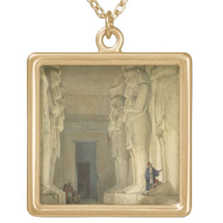 """Excavated Temple of Gysha, Nubia, from """"Egypt and Square Pendant Necklace"""