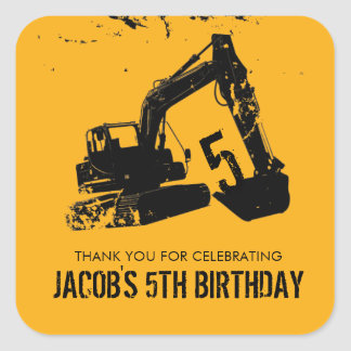 Excavator Party Favor Label