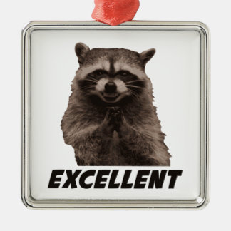 Excellent Evil Plotting Raccoon Silver-Colored Square Ornament