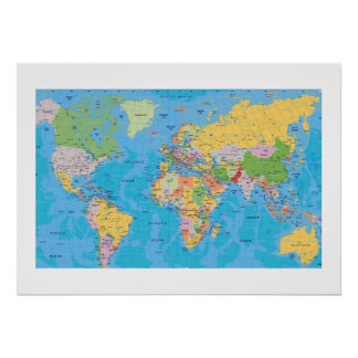 EXCELLENT WORLD MAP POSTER