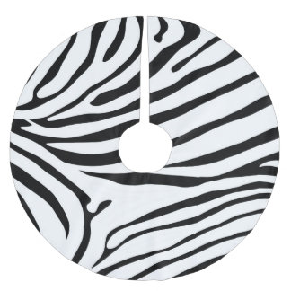 Excellent Zebra print black and white Brushed Polyester Tree Skirt
