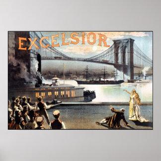 Excelsior Poster 1883 Brooklyn Bridge New York