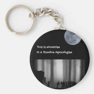 Excercise run in a zombie apocalypse keychain