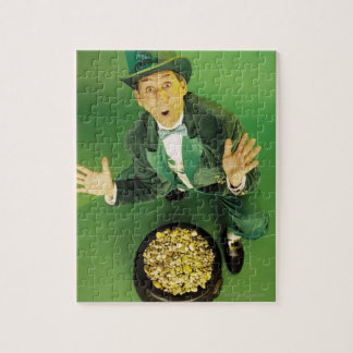 Excited leprechaun with pot of gold jigsaw puzzle