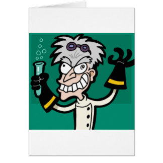excited scientist card