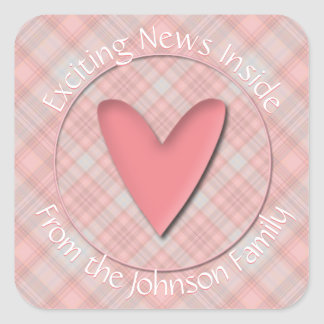 Exciting News Baby Pink Plaid Envelope Seals Square Sticker
