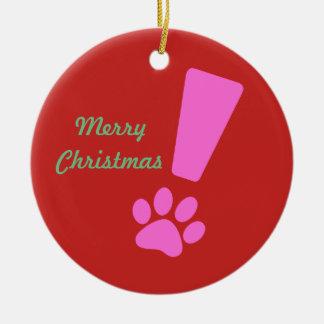 Exclamation Cat Paw Porcelain Ornament