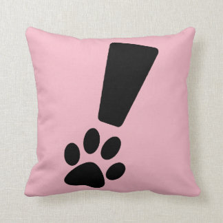 Exclamation Dog Paw Throw Pillow