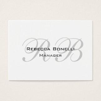 Exclusive Unique White Gray Monogram Business Card