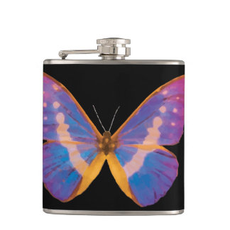 Excotic Butterfly Watercolor Hip Flask