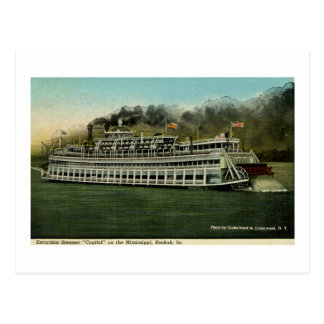 """Excursion Steamer """"Capitol"""" on the Mississippi Postcard"""