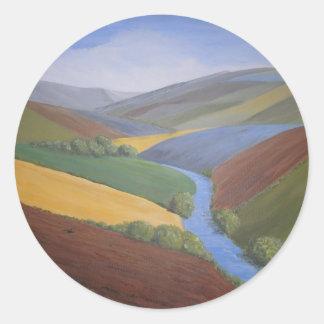 Exe Valley View by Janet Davies,Devon Round Sticker