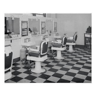 Executive Barber Shop, 1935. Vintage Photo Poster