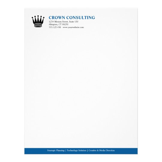 Executive Stationery Letterhead Business Letterhead 8370: Executive Blue Stripe Custom Logo Professional Letterhead