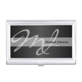 Executive Monogram - Classic Black Business Card Holder