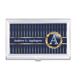 Executive Monogram - Classic Dark Blue Business Card Holder