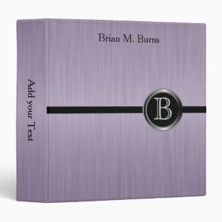 Executive Monogram Design - Amethyst Brush Steel Vinyl Binders