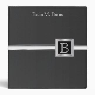 Executive Monogram Design - Black And Silver Vinyl Binders