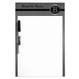 Executive Monogram Design - Black Brush Steel Dry Erase Boards
