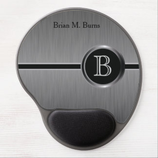 Executive Monogram Design | Black Brush Steel Gel Mouse Pad