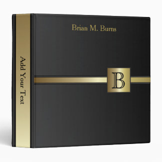 Executive Monogram Design - Classic Black 3 Ring Binders
