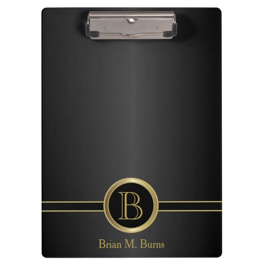 Executive Monogram Design - Classic Black Clipboard