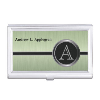 Executive Monogram Design - Peridot Brush Steel Business Card Holder