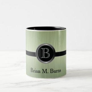 Executive Monogram Design- Peridot Brush Steel Two-Tone Coffee Mug