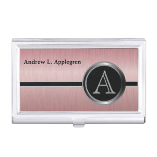 Executive Monogram Design - Ruby Brush Steel Business Card Holder