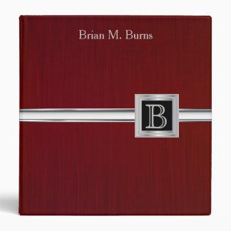 Executive Monogram Design - Steel Brush Dark Red 3 Ring Binder