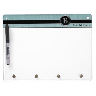 Executive Monogram Design - Turquoise Brush Steel Dry Erase Board