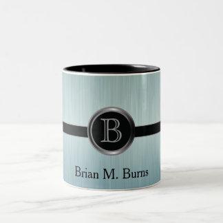 Executive Monogram Design - Turquoise Brush Steel Two-Tone Mug