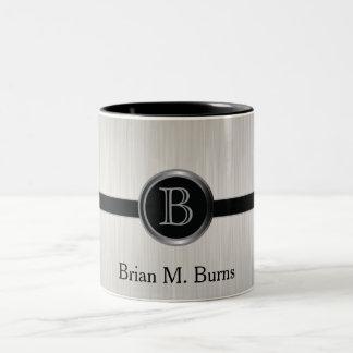 Executive Monogram Design | White Brush Steel Two-Tone Coffee Mug