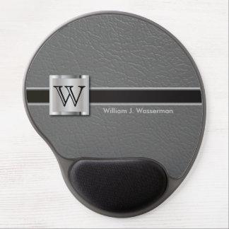 Executive Monogram Gray Leather Gel Mouse Pad