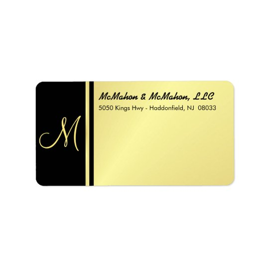Executive Monogram Labels - Gold & Black