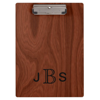 Executive Monogrammed Initials Mahogany Wood Look Clipboards