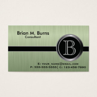 Executive Peridot Brush Steel Monogram Business Card