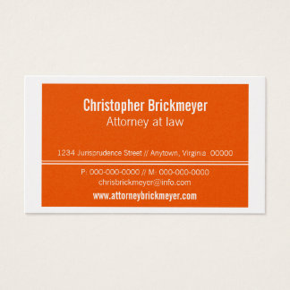 Executive Professional Business Card, Orange Business Card