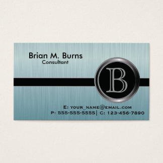 Executive Turquoise Brush Steel Monogram Business Card