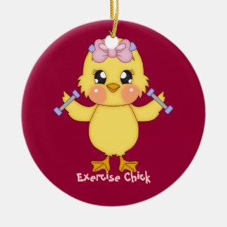 Exercise Chick (customizable) Ceramic Ornament
