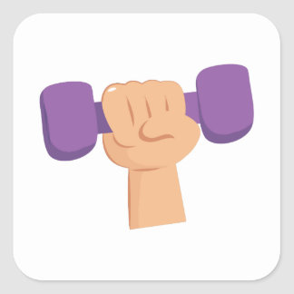 Exercise Dumbbell Square Sticker