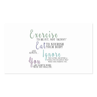 Exercise, Eat, Ignore Body Nutritionist Card Business Card