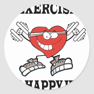 exercise heart2 classic round sticker