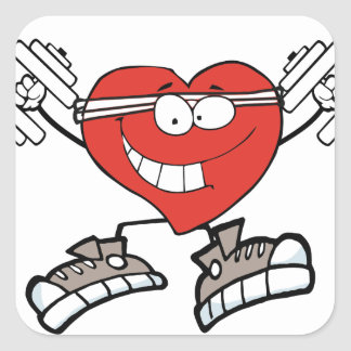 exercise heart2 square sticker