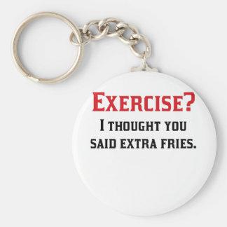 Exercise I Thought You Said Extra Fries Basic Round Button Keychain