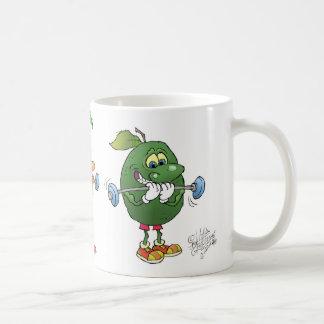 Exercising healthy foods, on a mug. coffee mug