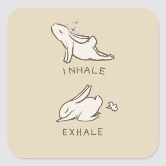 Exhale inhales and bunny square sticker