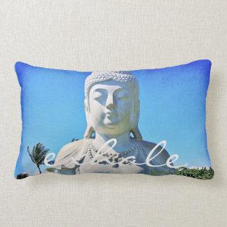 """Exhale"" Quote Hawaii White Buddha Photo Lumbar Pillow"